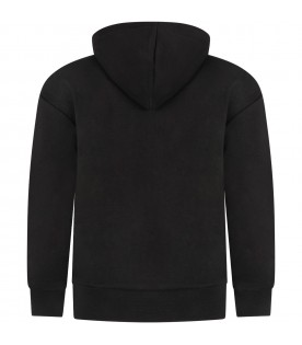 Black sweatshirt for boy with double logo