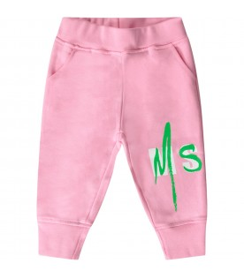 Pink sweatpants with logo for baby girl