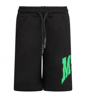 Black shorts with logo and palm for boy