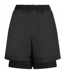 Black shorts with logo for boy