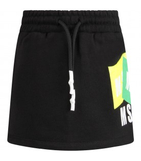 Black skirt with logos for girl