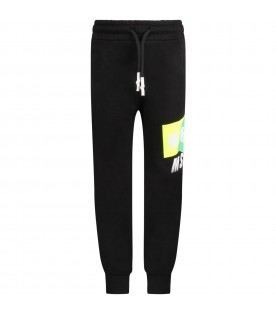Black kids sweatpant with white logo