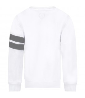 White kids sweatshirt with reflective logo