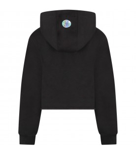 Black sweatshirt with silver logo for girl