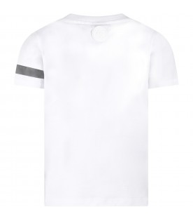White kids T-shirt with reflective logo