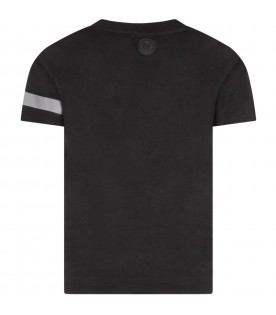 Black T-shirt for boy with reflective logo