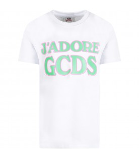 "White t-shirt ""J'adore GCDS"" for girl"