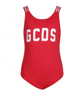 Red swimsuit for girl with white logo