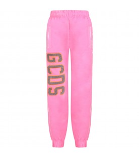 Neon fucshia girl pants with reflective logo