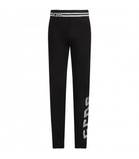 Black girl leggings with reflective logo
