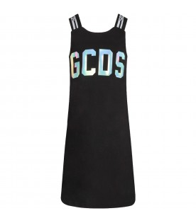 Black dress with silver logo for girl