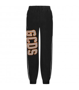 Black kids pants with reflective logo