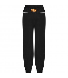Black pants for kid with reflective logo