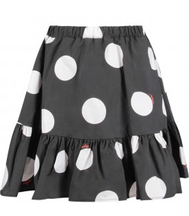 Black skirt with polka dots for girl