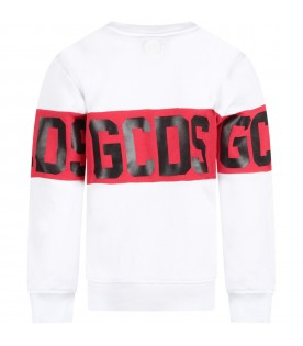White kids sweatshirt with white logo