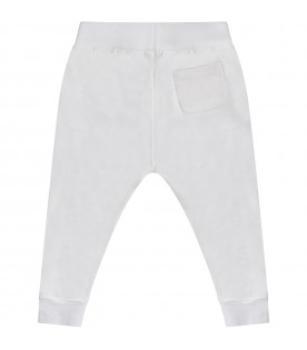 White babyboy sweatpants with black logo