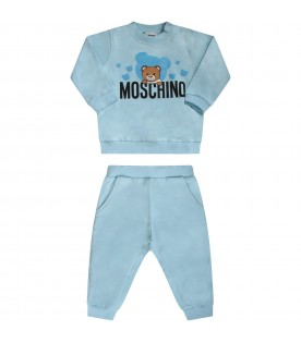 Light blue babyboy tracksuit with Teddy Bear