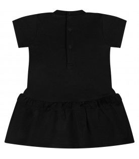 Black babygirl dress with Teddy Bear