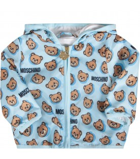 Light blue babyboy jacket with colorful Teddy Bear