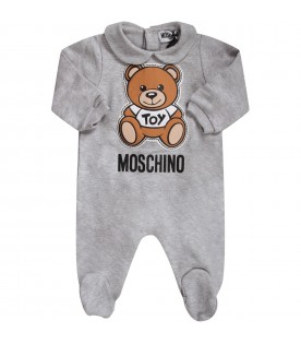 Grey babykids babygrow with Teddy Bear