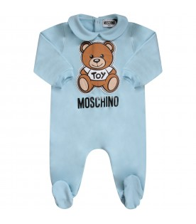 Light blue babyboy babygrow with Teddy Bear