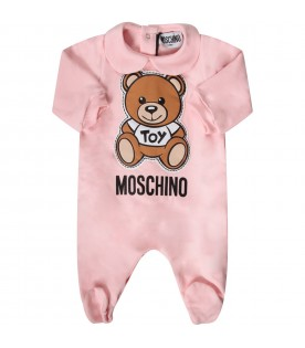 Pink babygirl babygrow with Teddy Bear