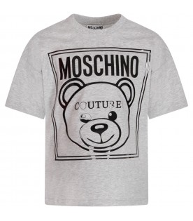 Grey kids T-shirt with black logo and Teddy Bear