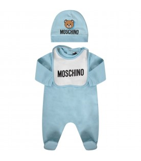 Light blue and white babyboy set with colorful teddy Bear