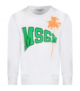 White kids sweatshirt with neon green logo