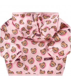 Pink babygirl jacket with colorful Teddy Bear