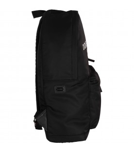 Black kids backpack with white logo