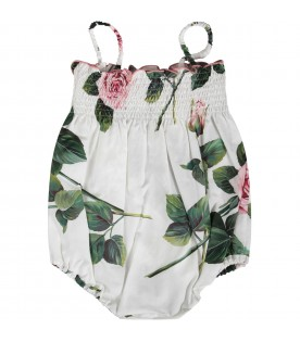 White babygirl rompers with pink roses