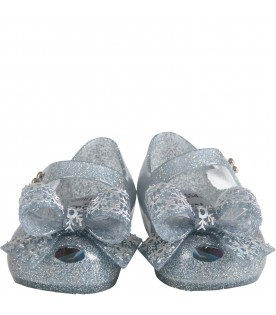 Clear girl ballerina flats with bow