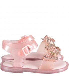 Pink girl sandals with gold and pink butterflies