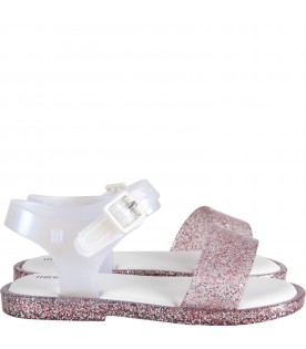 Pink and white lurex sandals for girl