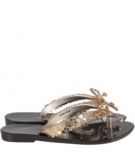 Black and gold flip flops for girl with bow and hearts