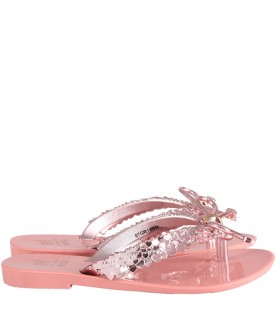 Pink flip flops with bow and hearts for girl
