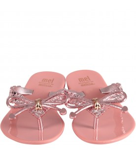 Pink girl flip flops with bow and hearts