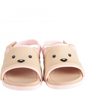 Beige and pink girl sandals with bear