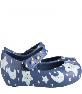 Blue kids ballerina flats with stars