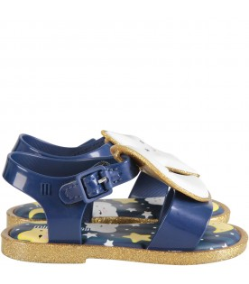 Blue and gold girl sandals with star