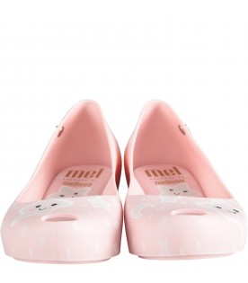 Pink girl ballerina flats with stars