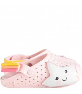 Pink girl sandals with white star