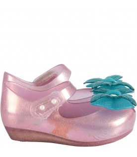 Pink girl ballerina flats with light blue bow
