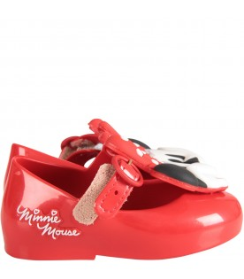 Red girl ballerina flats with Minnie