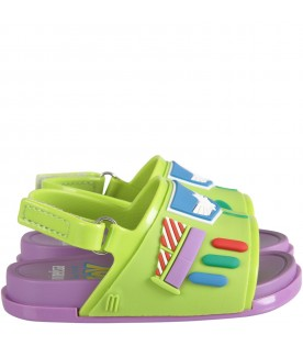Green and lilac sandals for boy