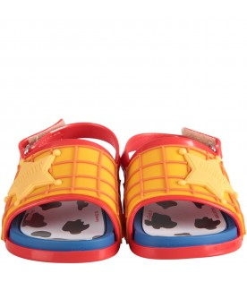 Yellow and red boy sandals