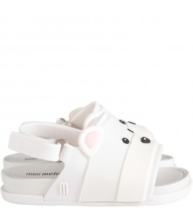 White kids sandals with bear