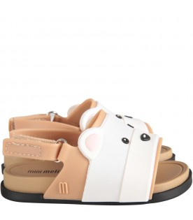 Beige and white kids sandals with bear