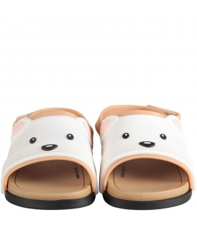 Beige and white sandals with bear for kid